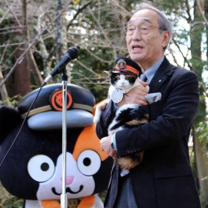 たま駅長、ニタマ駅長と「貴志川線の未来をつくる会」の10周年を祝う!