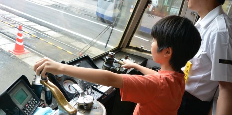 路面電車運転体験の様子