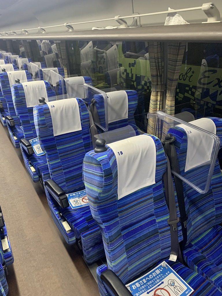 高速バス飛沫防止パーテーション